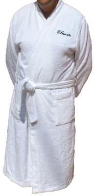 Peignoir adulte col kimono brodé côté coeur.